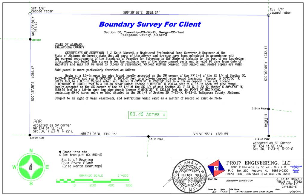 Boundary Survey Example